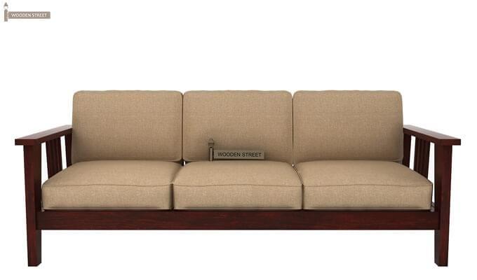 Mcleod 3 Seater Wooden Sofa (Mahogany Finish)-1