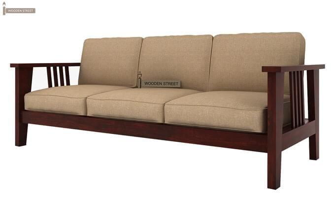 Mcleod 3 Seater Wooden Sofa (Mahogany Finish)-2