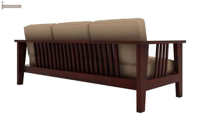 Mcleod 3 Seater Wooden Sofa (Mahogany Finish)-3