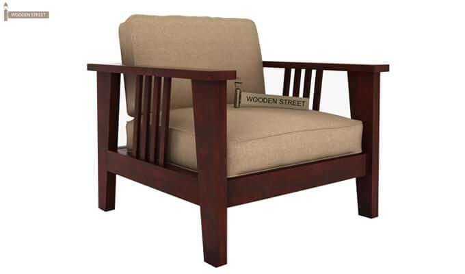 Mcleod 1 Seater Wooden Sofa (Mahogany Finish)-2
