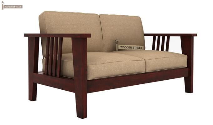 Mcleod 2 Seater Wooden Sofa (Mahogany Finish)-2