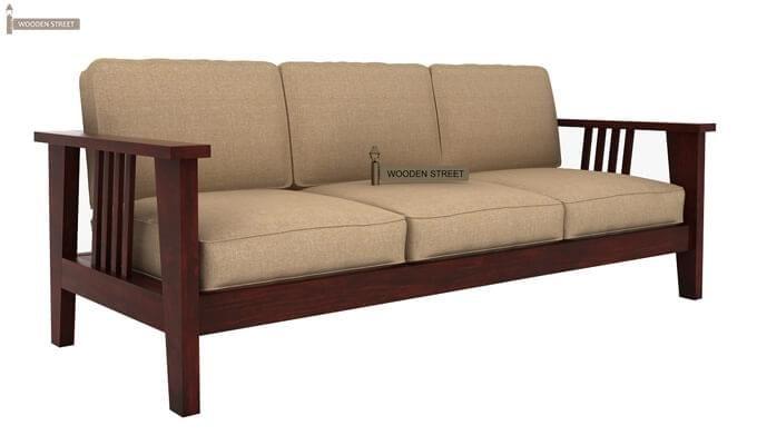 Mcleod 3 Seater Wooden Sofa (Mahogany Finish)-4