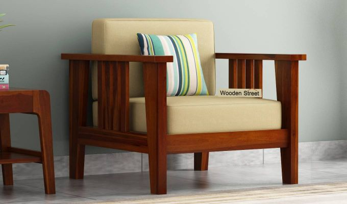 Mcleod 1 Seater Wooden Sofa (Honey Finish)-1
