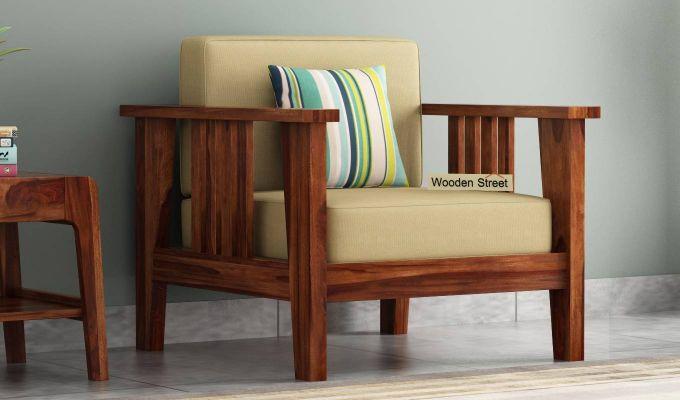 Mcleod 1 Seater Wooden Sofa (Teak Finish)-1