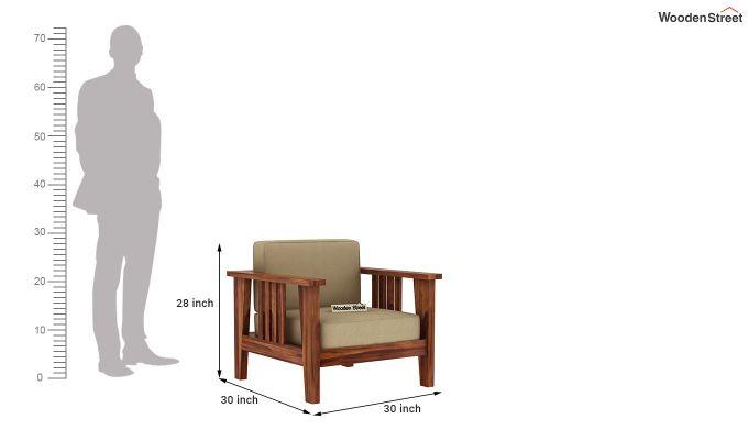 Mcleod 1 Seater Wooden Sofa (Teak Finish)-5