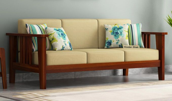 Mcleod Wooden Sofa 3+1+1 Set (Honey Finish)-3