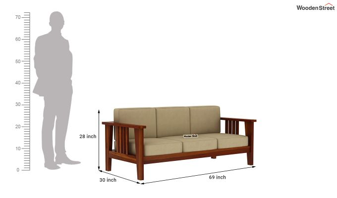 Mcleod Wooden Sofa 3+1+1 Set (Honey Finish)-9