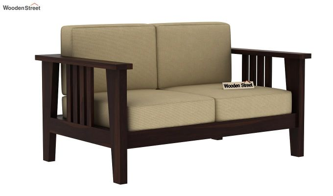 Mcleod 2 Seater Wooden Sofa (Walnut Finish)-2
