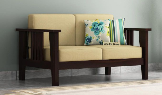 Mcleod 2 Seater Wooden Sofa (Walnut Finish)-1