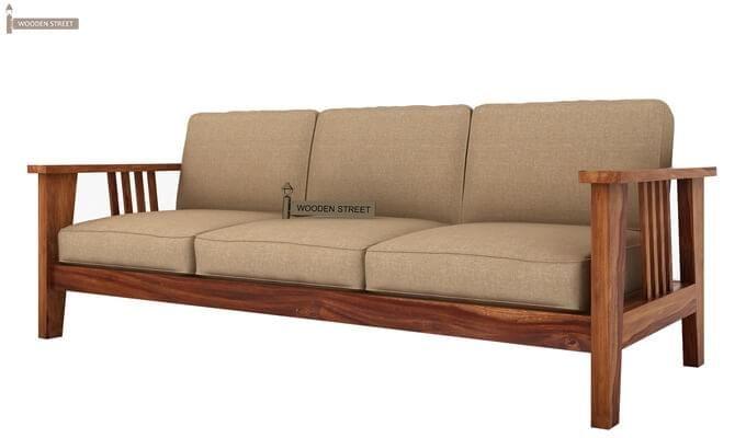 Mcleod 3 Seater Wooden Sofa (Teak Finish)-2
