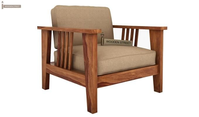 Mcleod 1 Seater Wooden Sofa (Teak Finish)-2