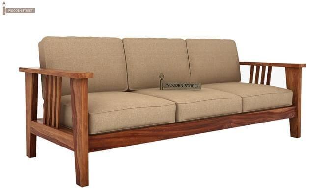 Mcleod 3 Seater Wooden Sofa (Teak Finish)-4