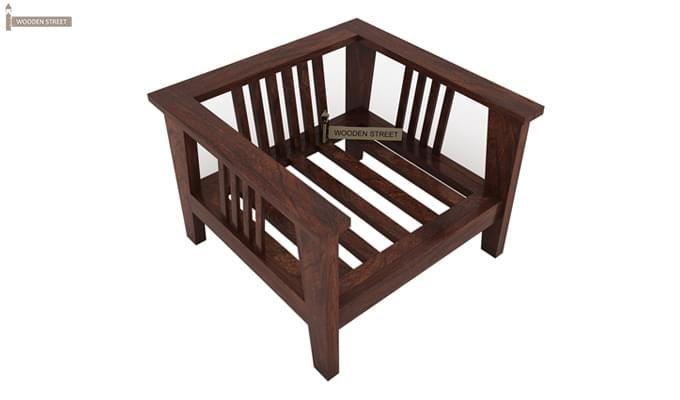 Mcleod 1 Seater Wooden Sofa (Walnut Finish)-2