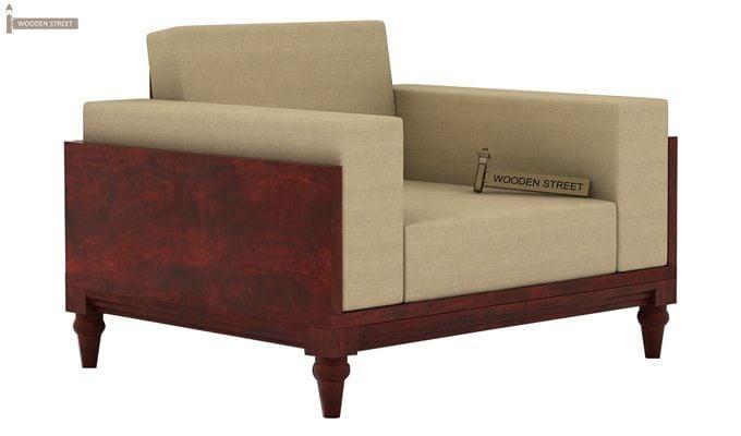 Messy 1 Seater Wooden Sofa (Mahogany Finish)-2