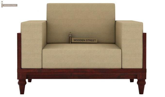 Messy 1 Seater Wooden Sofa (Mahogany Finish)-3