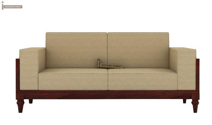 Messy 2 Seater Wooden Sofa (Mahogany Finish)-3