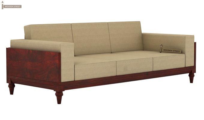 Messy 3 Seater Wooden Sofa (Mahogany Finish)-2