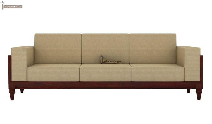 Messy 3 Seater Wooden Sofa (Mahogany Finish)-3