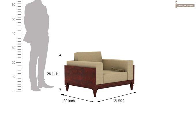 Messy 1 Seater Wooden Sofa (Mahogany Finish)-4