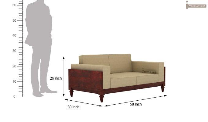 Messy 2 Seater Wooden Sofa (Mahogany Finish)-4