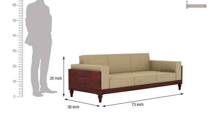 Messy 3 Seater Wooden Sofa (Mahogany Finish)-4