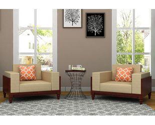 Messy Wooden Sofa 1+1 Sets (Mahogany Finish)