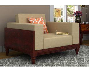 Messy 1 Seater Wooden Sofa (Mahogany Finish)