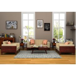 Messy Wooden Sofa 2+1+1 Sets (Mahogany Finish)