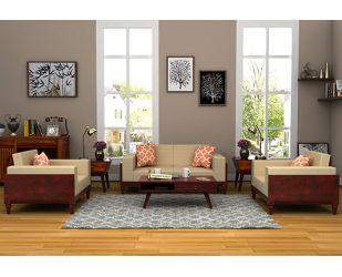 Messy Wooden Sofa 2+1+1 Sets (Mahogany Finish)