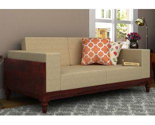 Messy 2 Seater Wooden Sofa (Mahogany Finish)