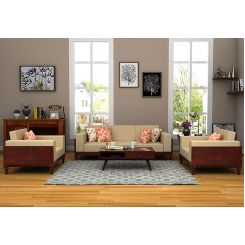 Messy Wooden Sofa 3+1+1 Sets (Mahogany Finish)