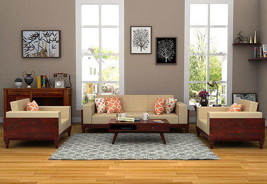 Messy Wooden Sofa 3+1+1 Sets (Mahogany Finish)