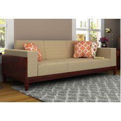 Messy 3 Seater Wooden Sofa (Mahogany Finish)