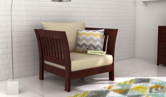 Raiden 1 Seater Wooden Sofa (Mahogany Finish)-1