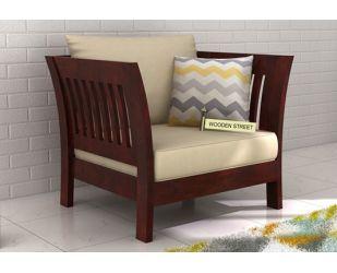 Raiden 1 Seater Wooden Sofa (Mahogany Finish)