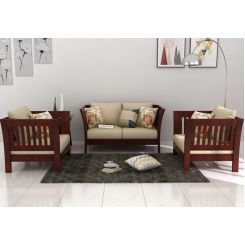 Raiden Wooden Sofa 2+1+1 (Mahogany Finish)