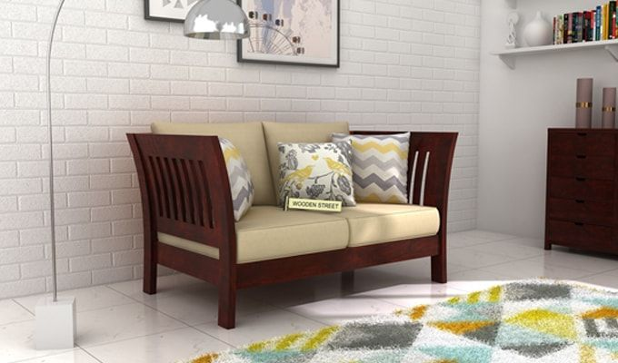 Raiden 2 Seater Wooden Sofa (Mahogany Finish)-1