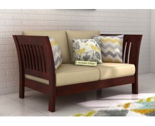 Raiden 2 Seater Wooden Sofa (Mahogany Finish)