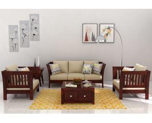 Raiden Wooden Sofa 3+1+1 (Mahogany Finish)