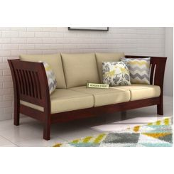 Raiden 3 Seater Wooden Sofa (Mahogany Finish)