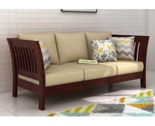 Raiden 3 Seater Wooden Sofa (Mahogany Finish)