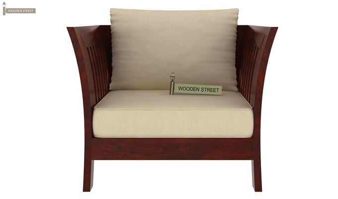 Raiden Wooden Sofa 1+1 (Mahogany Finish)-3