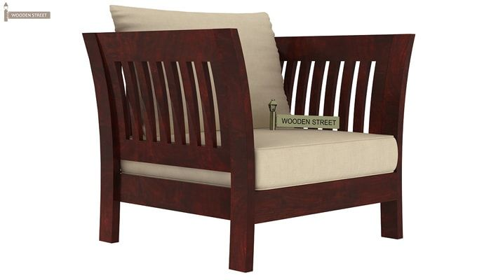 Raiden Wooden Sofa 1+1 (Mahogany Finish)-2