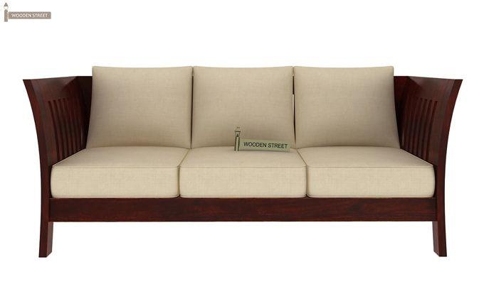 Raiden 3 Seater Wooden Sofa (Mahogany Finish)-2