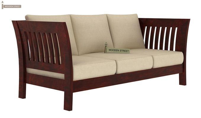 Raiden 3 Seater Wooden Sofa (Mahogany Finish)-3