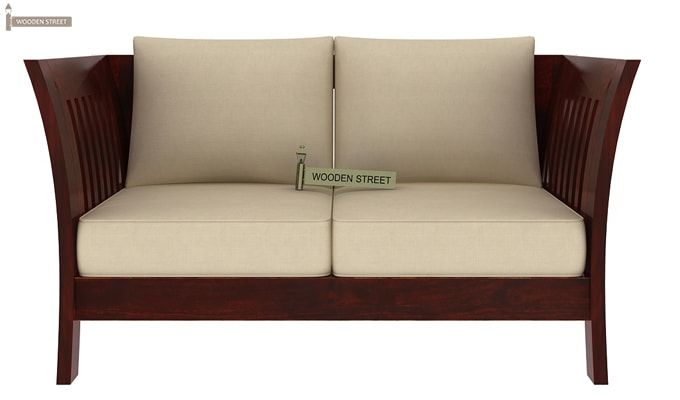 Raiden 2 Seater Wooden Sofa (Mahogany Finish)-2