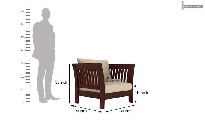 Raiden 1 Seater Wooden Sofa (Mahogany Finish)-4