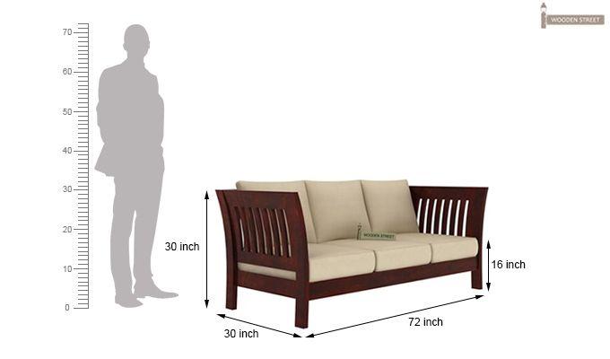 Raiden 3 Seater Wooden Sofa (Mahogany Finish)-4