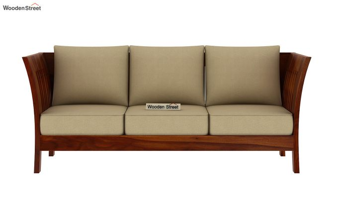 Raiden 3 Seater Wooden Sofa (Honey Finish)-3