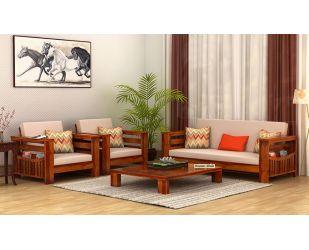 Sereta 3+1+1 Seater Wooden Sofa (Honey Finish)
